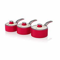 Swan Retro Saucepan Set of 3 Red