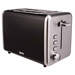 Igenix 2 Slice Toaster with Stainless Steel Black