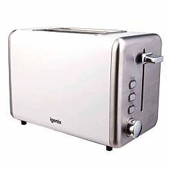Igenix 2 Slice Toaster with Stainless Steel White