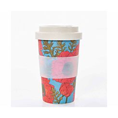 Eco Chic Bamboo Travel Mug 400ml Blue Poppies