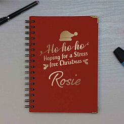 Personalised Stress Free Christmas Heritage Notebook