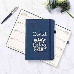 Ryman Personalised Navy A5 Soft Touch 2022 Week to View Diary