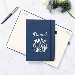 Ryman Personalised Navy A5 Ryman Soft Touch 2022 Day per Page Diary