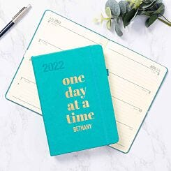Ryman Personalised Teal A5 Ryman Soft Touch 2022 Week to View Diary