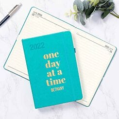 Ryman Personalised Teal A5 Ryman Soft Touch 2022 Day per Page Diary