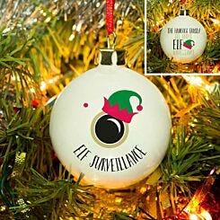 Personalised Elf Surveillance Christmas Bauble