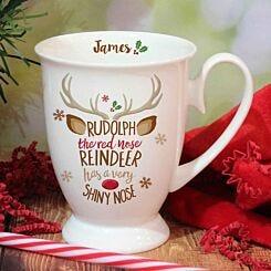 Personalised Rudolph Reindeer Mug
