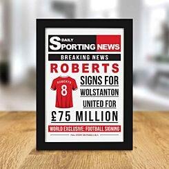 Personalised Sporting News Framed Print