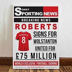 Personalised Sporting News Canvas
