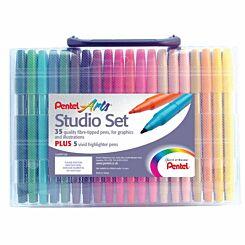 Pentel Studio Set of 40 Fibre Tip Pens