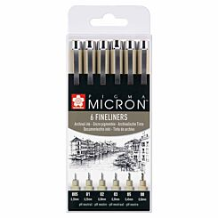 Sakura Pigma Micron Fineliner Pens Black Set of 6
