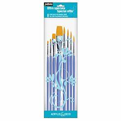 Pebeo Yellow Polyamide Assorted Brush Set of 8