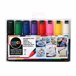 Uni Posca Marker Pen PC-8K 8mm Chisel Tip 8 Pack Assorted