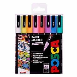 Uni Posca Marker Pen PC-3M 0.9mm 8 Pack Pastels