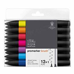 Winsor and Newton Vibrant ProMarker Brush Pen Set of 12 plus Blender