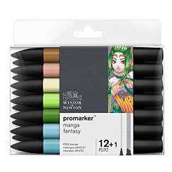 Winsor and Newton ProMarker Pen Set Manga Fantasy 12 Pack plus Blender