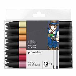 Winsor and Newton ProMarker Pen Set Manga Steampunk 12 Pack plus Blender