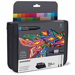 Winsor and Newton ProMarker Pen Set Arts and Illustration 24 Pack plus Blender