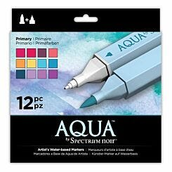 Spectrum Noir Aqua Pack of 12 Markers Primary