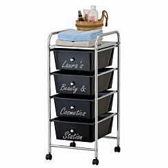 Personalised Ryman 4 Drawer Trolley with Silver Text