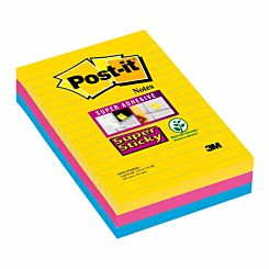 Post-It Super Sticky Lined Rio Notes 101x152mm Pack of 3