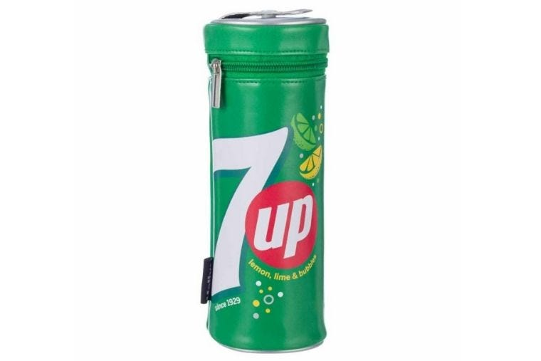 7UP retro tube shaped pencil case displayed on a white background