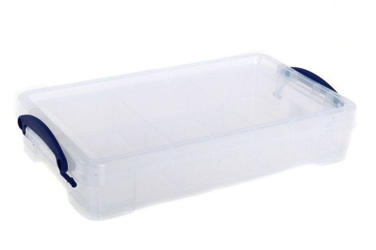 A clear plastic cable tidy box with blue handles
