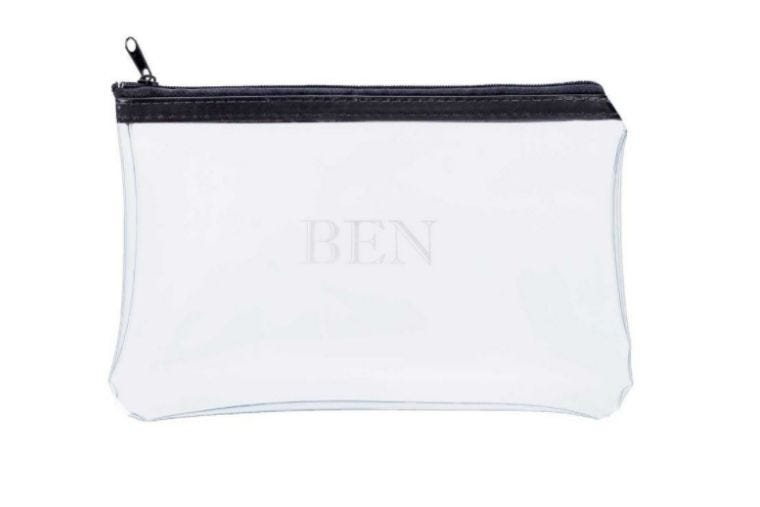 """Clear zipped personalised pencil case with """"Ben"""" written on the front"""