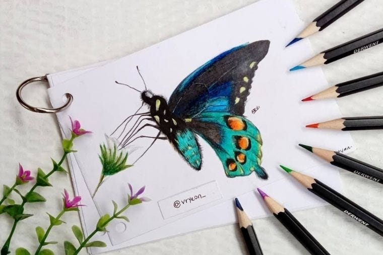 A butterfly drawn by artist @vryeon_ using Derwent Watercolour pencils
