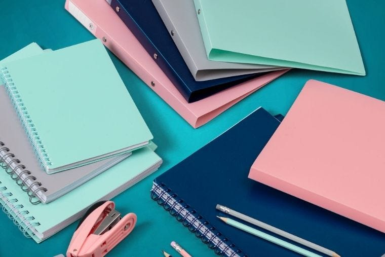 Eden collection folders, notebooks and pencils in pastel colours