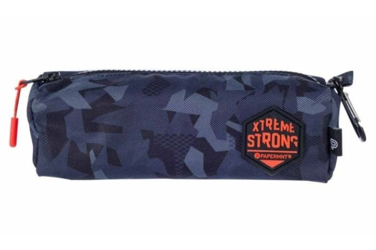 Small ExtremeStrong pencil case in dark blue camouflage with an orange logo