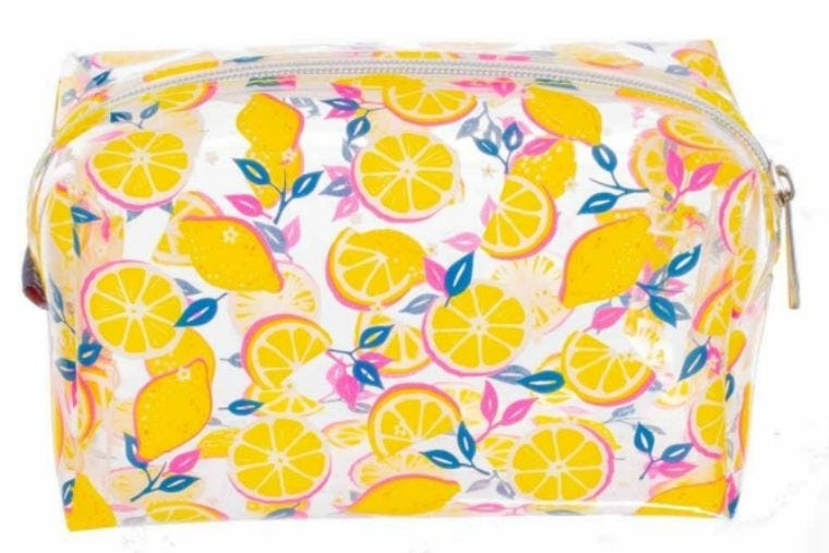 Large and clear pencil case that has illustrations of lemons and lemon slices covering it