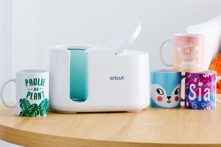 Cricut Mug Press and uniquely designed mugs.