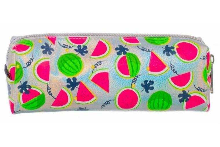 Silver medium sized pencil case with illustrations of watermelon slices covering it