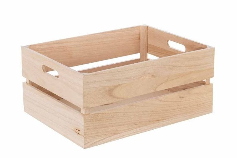A light coloured wooden crate