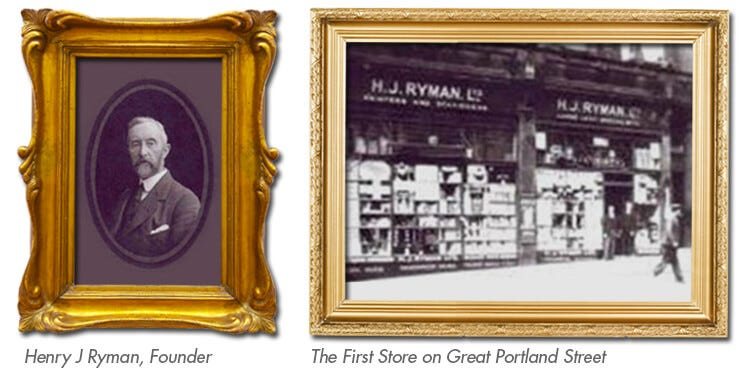 Henry J Ryman opened his first store in London on Great Portland Street in 1893