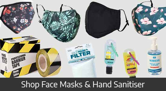 Shope our range of Face Masks and Hand Sanitiser