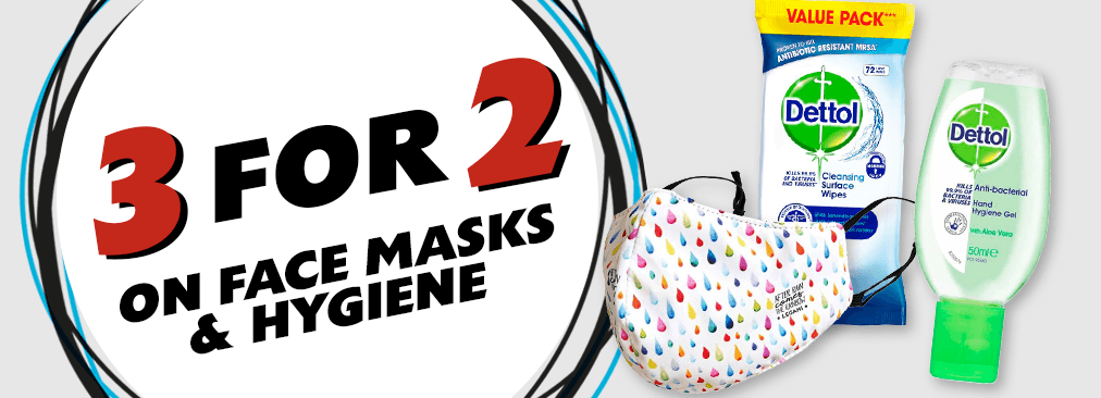 3 for 2 on Face Masks & Hygiene