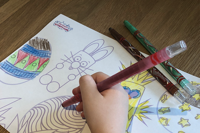 a child colouring