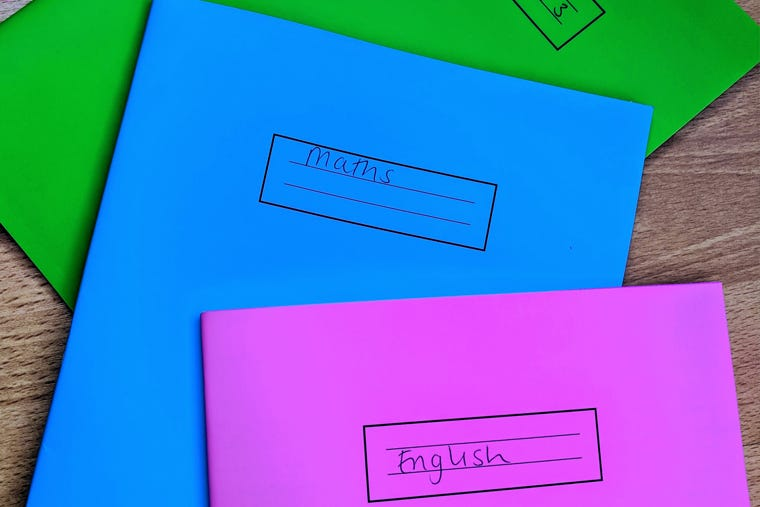 Flatlay photo of school exercise books in green, blue and purple.